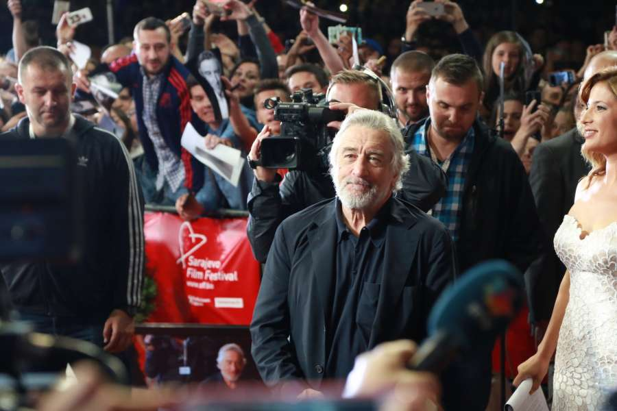 SARAJEVO, Aug. 13, 2016 (Xinhua) -- U.S. actor Robert De Niro (C) arrives for the opening ceremony of the 22nd Sarajevo Film Festival held in Sarajevo, Bosnia and Herzegovina, Aug. 12, 2016. A total of 222 films from 61 countries and regions around the world will be shown to audiences during the festival, which will be closed on Aug. 20.(Xinhua/Haris Memija/IANS) by .