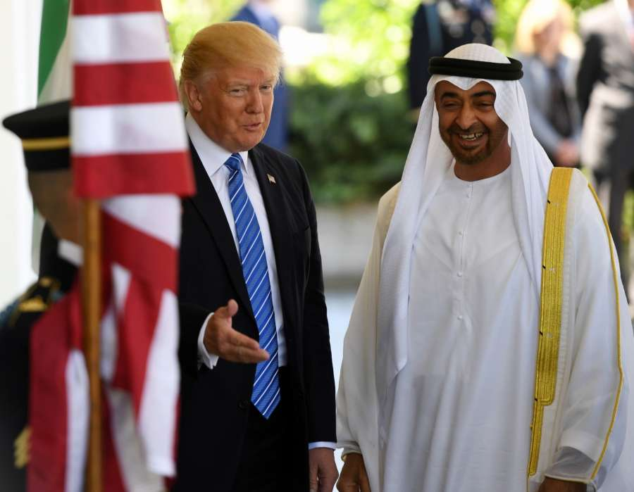 WASHINGTON, May 15, 2017 (Xinhua) -- U.S. President Donald Trump (L) welcomes Sheikh Mohamed bin Zayed Al-Nahyan, Abu Dhabi Crown Prince of the United Arab Emirates (UAE), at the White House in Washington D.C., the United States, on May 15, 2017. (Xinhua/Yin Bogu/IANS) by .