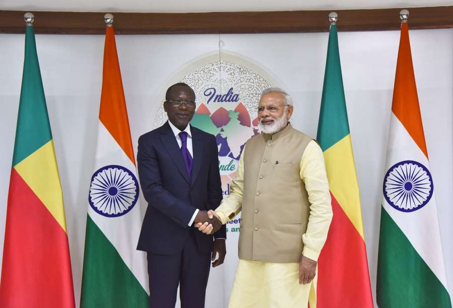 New Delhi: Prime Minister Narendra Modi meets Benin President Patrice Talon, on the sidelines of the 52nd African Development Bank Annual meeting, in Gandhinagar, Gujarat on May 23, 2017. (Photo: IANS/PIB) by .