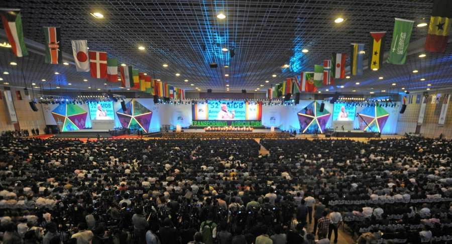 Gandhinagar: Foreign delegates participating in the 52nd African Development Bank Annual meeting listen as Prime Minister Narendra Modi speaks in Gandhinagar, Gujarat on May 23, 2017. (Photo: IANS/PIB) by .