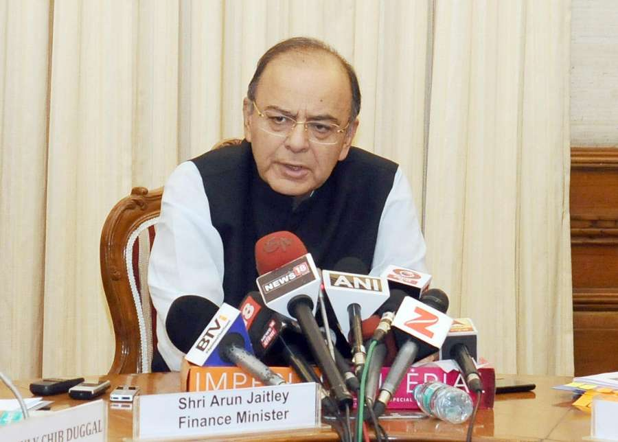 New Delhi: Union Minister for Finance, Corporate Affairs and Defence Arun Jaitley addresses a press conference on the NPA Ordinance in New Delhi on May 5, 2017. (Photo: IANS/PIB) by .