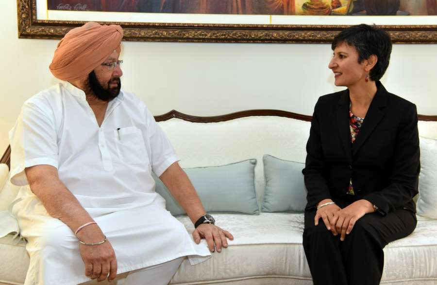 Chandigarh: Australian High Commissioner to India Harinder Sidhu calls on Punjab Chief Minister Captain Amarinder Singh in Chandigarh on May 4, 2017. (Photo: IANS) by .