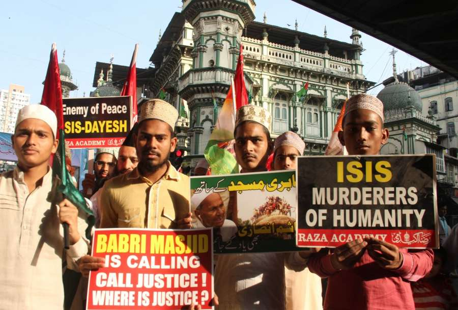 Mumbai: Members of a Raza Academy stage a demonstration against demolition of the Babri Masjid in Ayodhya; in Mumbai on Dec 6, 2016. Babri Masjid was demolished on Dec 6, 1992. (Photo: IANS) by .