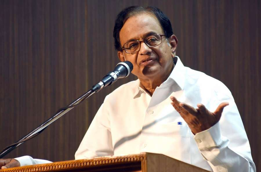 "Bengaluru: Congress leader P Chidambaram addresses during the book release ""Fearless in Opposition"" authored by P Chidambaram in Bengaluru on April 1, 2017. (Photo: IANS) by ."
