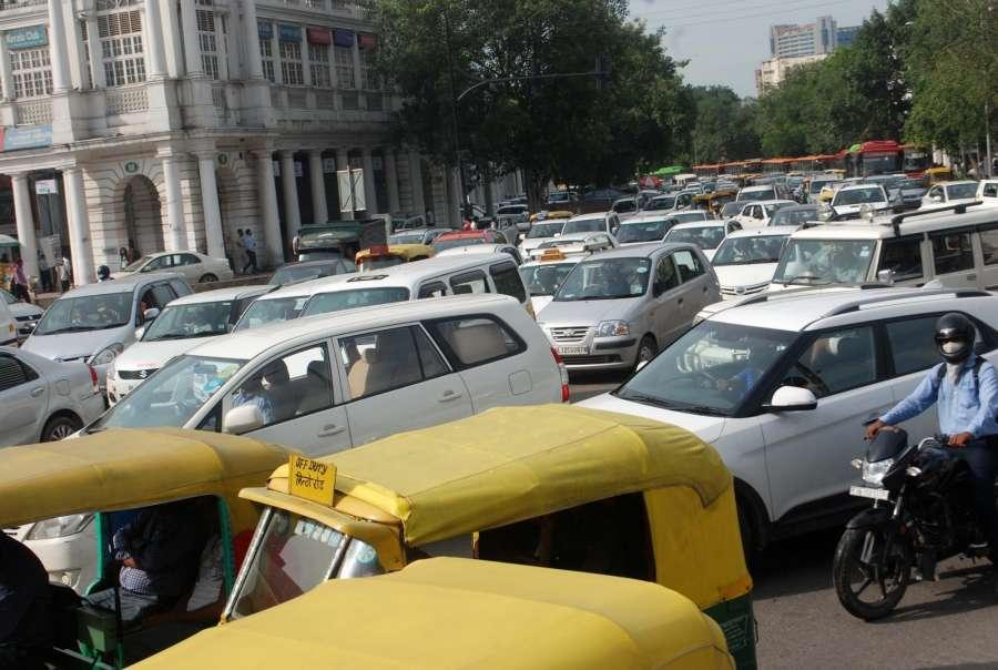 New Delhi: Vehicles crawl on Delhi roads due to traffic congestion on Raksha Bandhan in New Delhi, on Aug 18, 2016. (Photo: IANS) by .