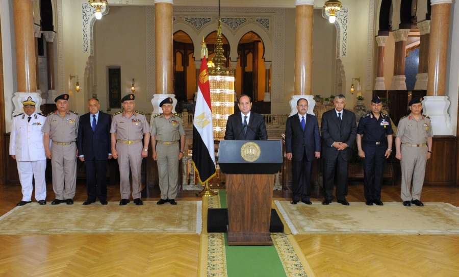 CAIRO, May 26, 2017 (Xinhua) -- Egyptian President Abdel-Fattah al-Sisi (C) delivers a speech in Cairo, Egypt, on May 26, 2017. Egyptian President Abdel-Fattah al-Sisi said on Friday that the Egyptian forces hit terrorist training camps after the shooting attack that killed 28 Copts in Upper Egypt's Minya governorate. (Xinhua/MENA/IANS) by .