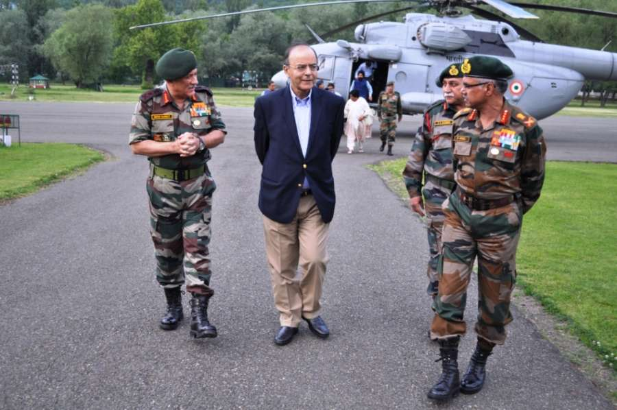 Union Defence Minister Arun Jaitley and Army Chief General Bipin Rawat review security situation in Jammu and Kashmir in Srinagar on May 17, 2017. (Photo: IANS) by .