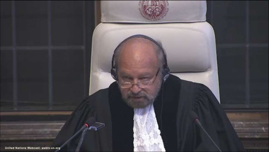 The Hague: A screengrab of President of International Court of Justice, Judge Ronny Abraham, reading out the court verdict in Kulbhushan Jadhav's case in The Hague, Netherlands on May 18, 2017. In a major relief for India, the International Court of Justice ordered Pakistan not to execute alleged spy Kulbhushan Jadhav till a final decision is taken. (Photo: IANS/UN) by .