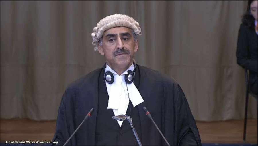 A screengrab of QC Khawar Qureshi as he pleads at the International Court of Justice from Pakistan's side during a public hearing in the case of Kulbhushan Jadhav, the alleged Indian spy sentenced to death by a Pakistani military court in The Hague, Netherlands on May 15, 2017. (Photo: IANS/UN) by .