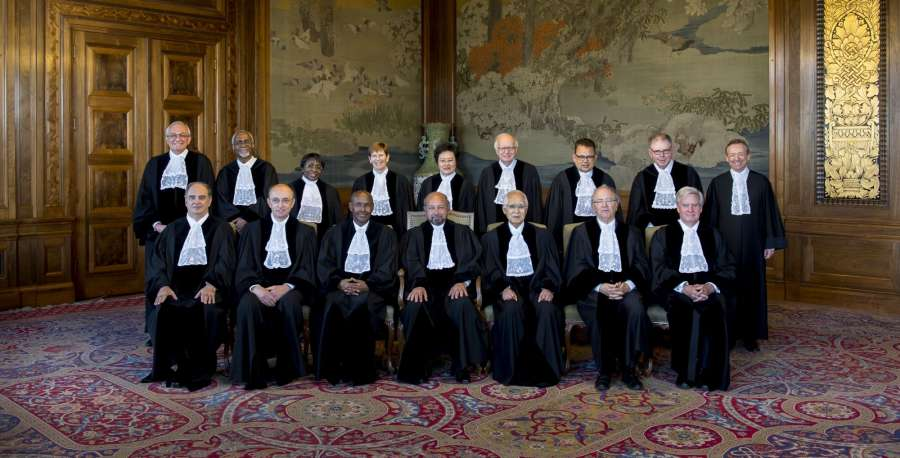 Members of the International Court of Justice, who are hearing the case of Kulbhushan Jadhav, the alleged Indian spy sentenced to death by a Pakistani military court; in The Hague, Netherlands on May 15, 2017. (Photo: IANS/ICJ) by .