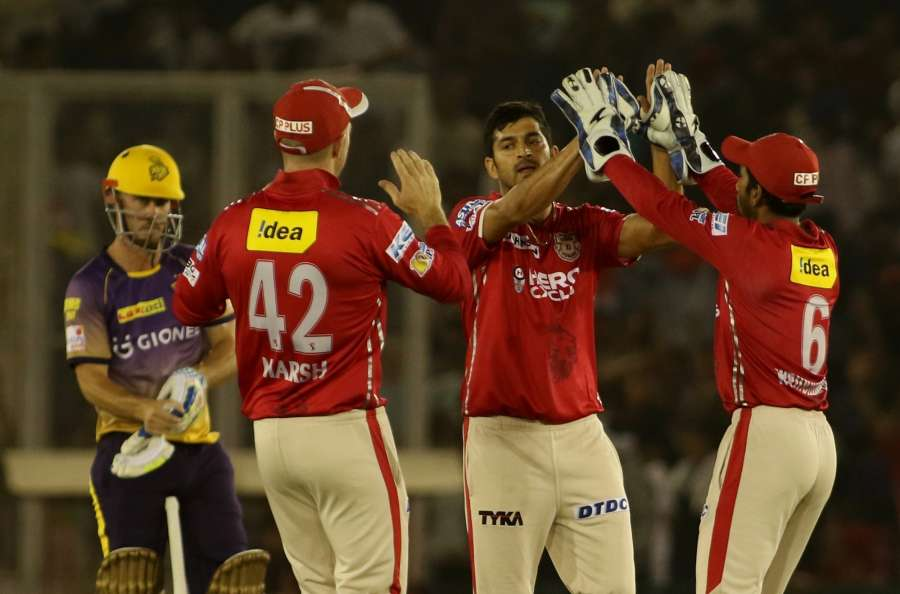 Mohali: Mohit Sharma of Kings XI Punjab celebrates fall of Sunil Narine's wicket during an IPL 2017 match between Kings XI Punjab and Kolkata Knight Riders at Punjab Cricket Association IS Bindra Stadium in Mohali, Punjab on May 9, 2017. (Photo: Surjeet Yadav/IANS) by .
