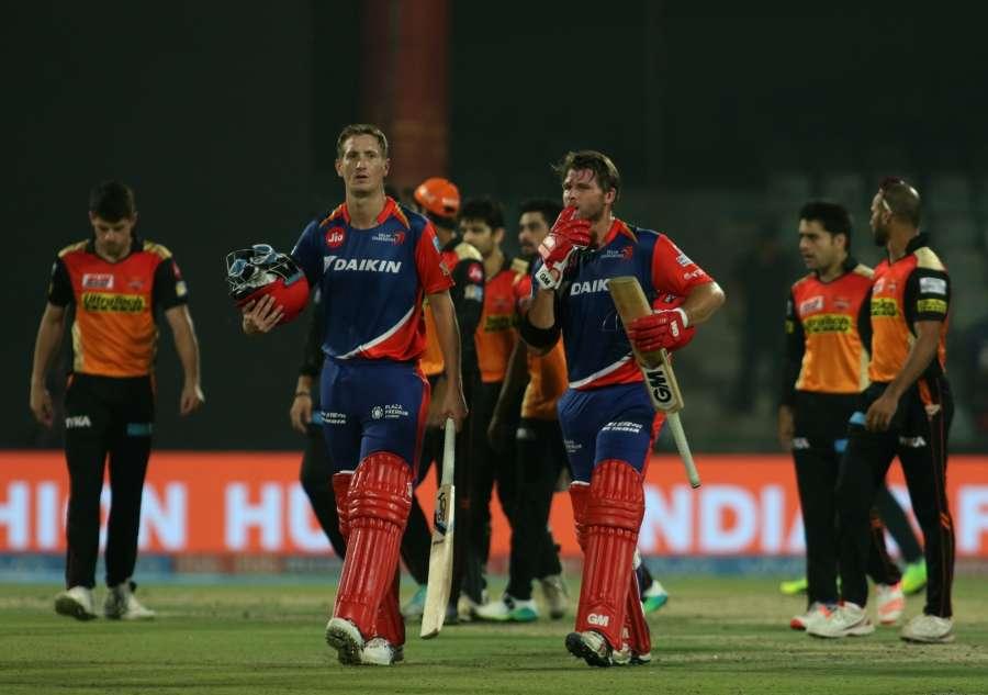 New Delhi: Corey Anderson and Chris Morris of Delhi Daredevils celebrate after winning an IPL 2017 match between Sunrisers Hyderabad and Delhi Daredevils at Feroz Shah Kotla in New Delhi on May 2, 2017. (Photo: Surjeet Yadav/IANS) by .