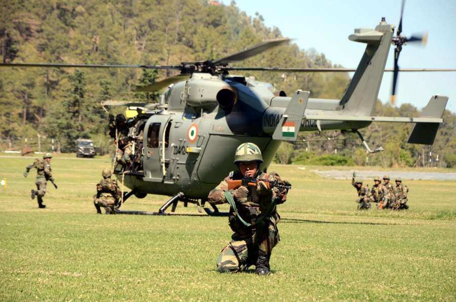 Shimla: Indian Army soldiers during 'Mountain Rescue' - a mock drill at Shimla's Annandale ground on April 10, 2017. (Photo: IANS) by .