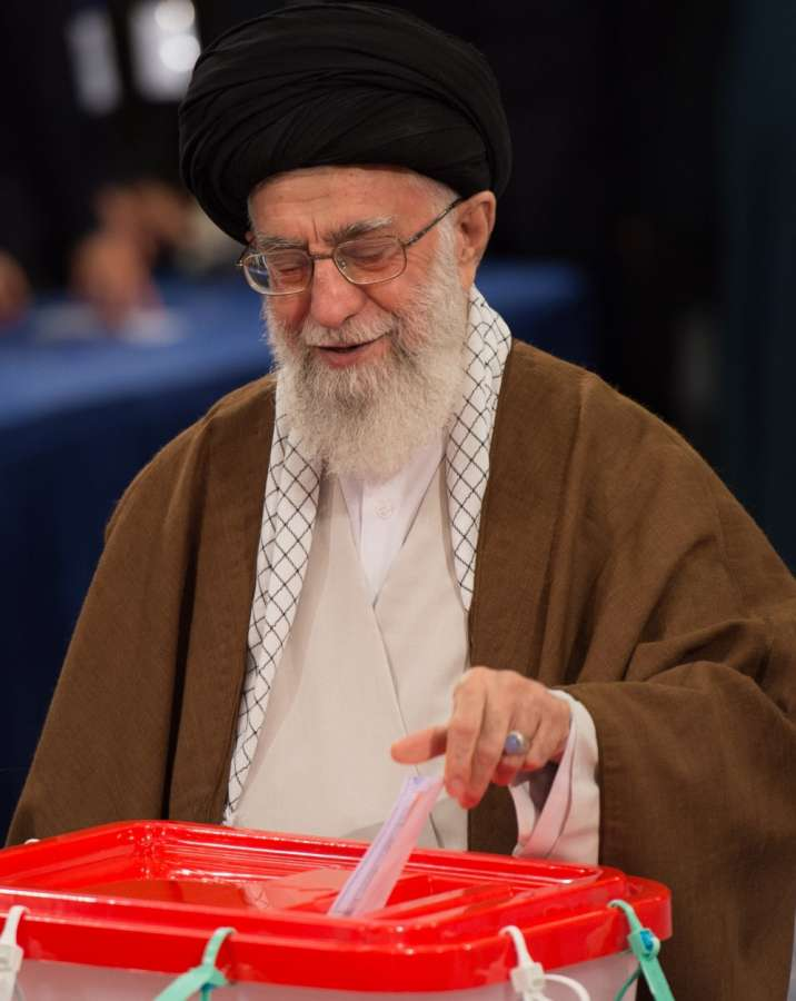 TEHRAN, May 19, 2017 (Xinhua) -- Iranian Supreme Leader Ayatollah Ali Khamenei casts vote in the presidential election at a polling station in Tehran May 19, 2017. Iran held the presidential election on Friday. (Xinhua/Meng Tao/IANS) by .