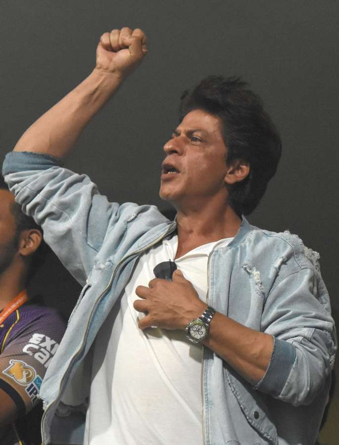 Bengaluru: Actor and Kolkata Knight Riders co-owner Shah Rukh Khan reacts after his team won the second qualifier match of IPL 2017 against Sunrisers Hyderabad at M Chinnaswamy Stadium in Bengaluru on May 17, 2017. (Photo: Dhananjay TK/IANS) by .