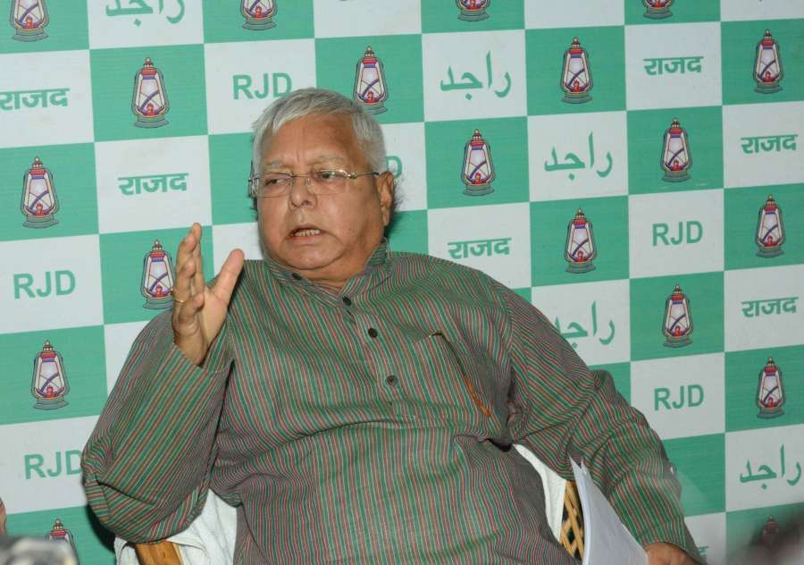Patna: RJD chief Lalu Prasad Yadav during a press conference in Patna on May 14, 2017. (Photo: IANS) by .