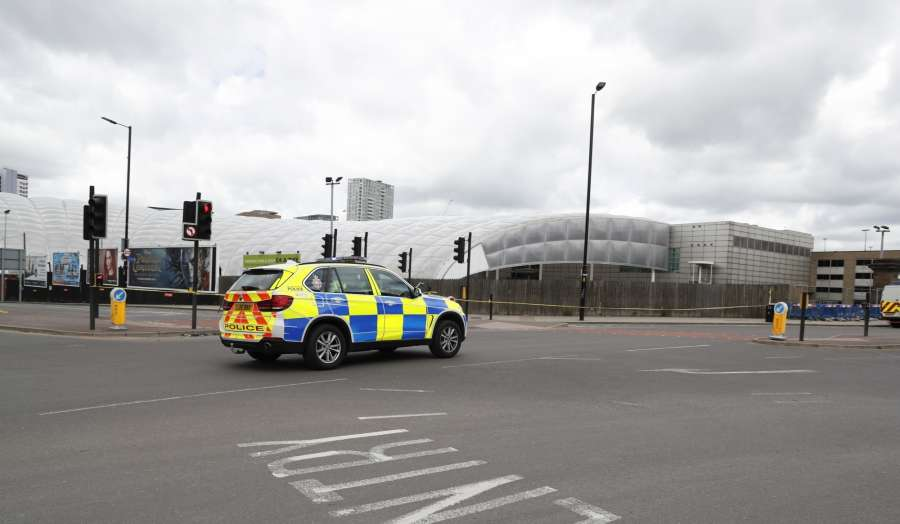 MANCHESTER, May 23, 2017 (Xinhua) -- A police car partrols near the Manchester Arena in Manchester, Britain, May 23, 2017. A total of 22 people, including children, were killed and 59 others injured in a suicide terror attack at Manchester Arena Monday night, police announced on Tuesday. (Xinhua/Han Yan/IANS) (dtf) by .