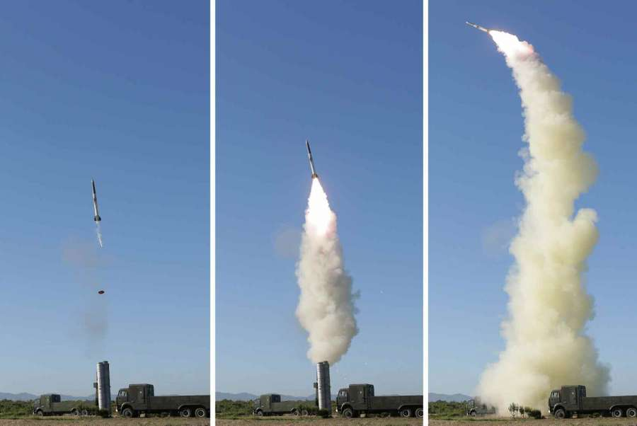 """Shown are photos of North Korea's test-firing of a new anti-aircraft guided weapon system. The Korean Central News Agency (KCNA) said North Korean leader Kim Jong-un watched """"the successful test"""" organized by the Academy of National Defence Science, without revealing the date and location. (For Use Only in the Republic of Korea. No Redistribution) (Yonhap/IANS) by ."""