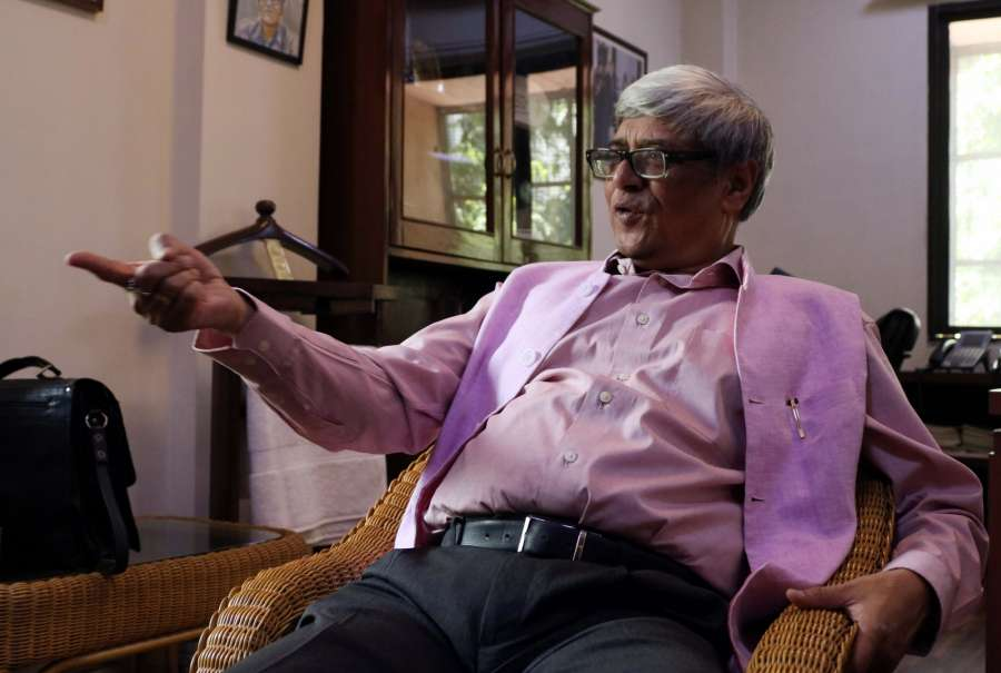New Delhi: Economist and NITI Aayog member Bibek Debroy during an interview with IANS in New Delhi. (Photo: Bidesh Manna/IANS) by .