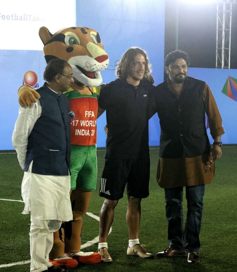 New Delhi: Union Ministers Babul Supriyo and Vijay Goel with retired Spanish footballer Carles Puyol during a programme organised to kick off U-17 FIFA World Cup ticketing programme in New Delhi, on May 15, 2017. (Photo: IANS) ticketing programme in New Delhi, on May 15, 2017. (Photo: IANS) by .