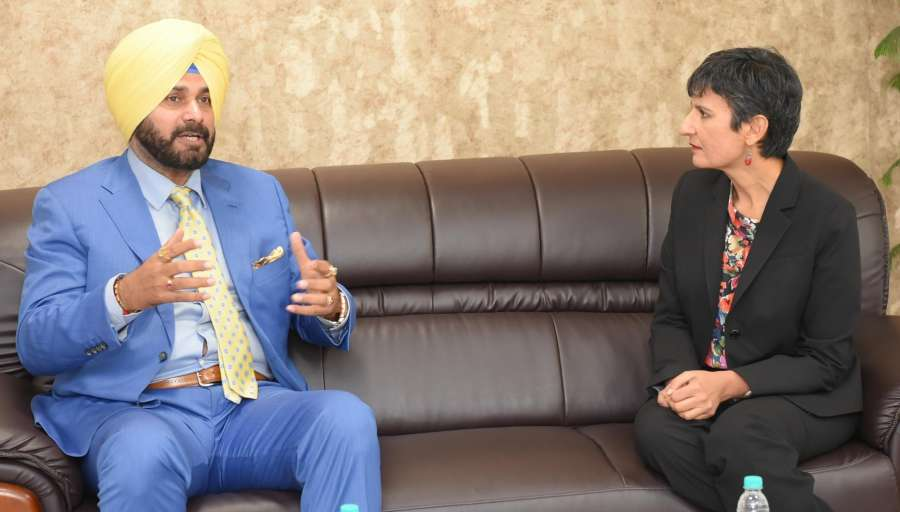 Chandigarh: Australian High Commissioner to India Harinder Sidhu calls on Punjab Minister Navjot Singh Sidhu in Chandigarh on May 4, 2017. (Photo: IANS) by .