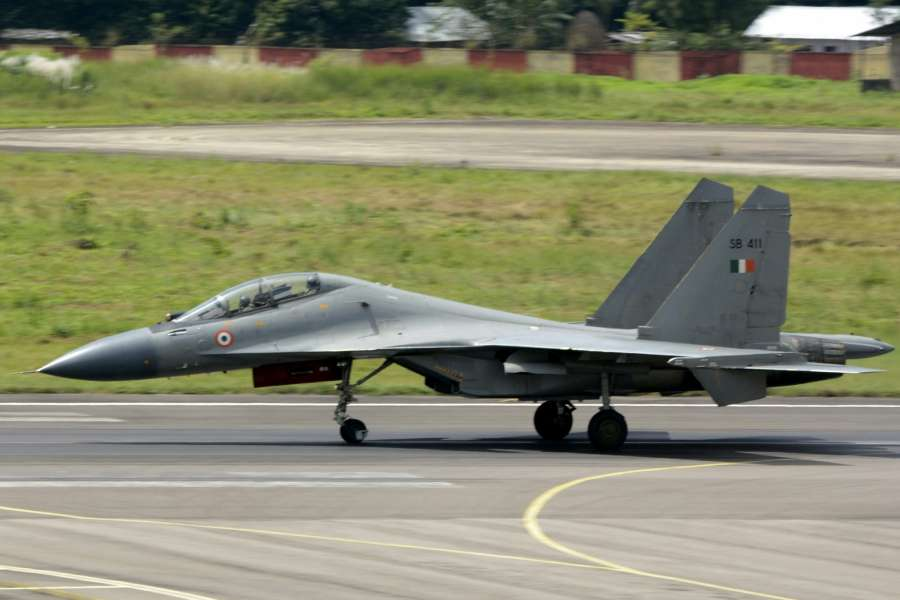 Agartala: The Sukhoi SU-30 combat jet that landed at the civil airport in Agartala on Sept 15, 2016. (Photo: IANS) by .
