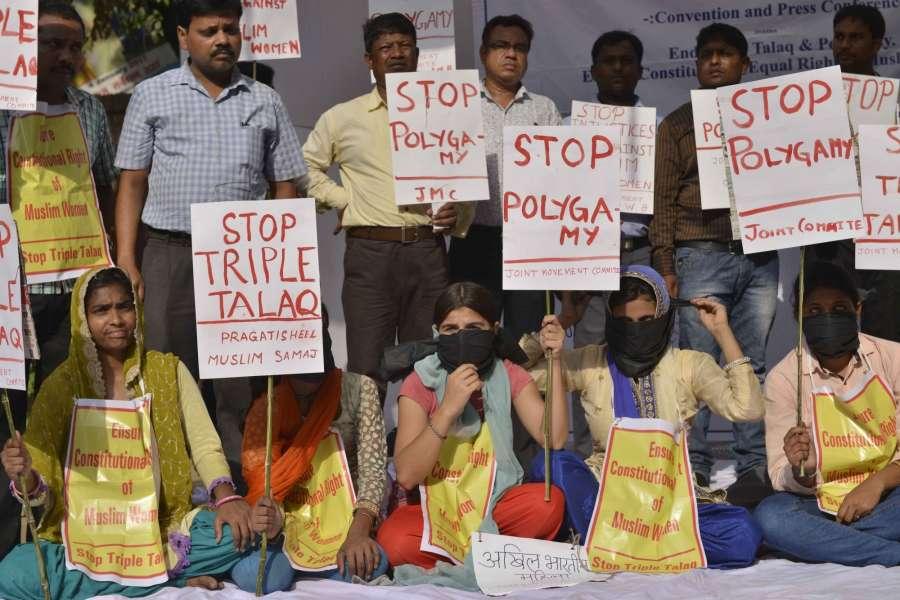 New Delhi: Members of Pragatisheel Muslim Samaj stage a demonstration against triple talaq at Jantar Mantar in New Delhi, on May 10, 2017. (Photo: IANS) by .
