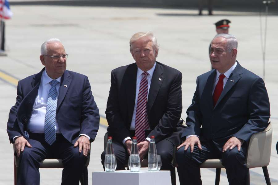 TEL AVIV, May 22, 2017 (Xinhua) -- U.S. President Donald Trump (C) and Israeli Prime Minister Benjamin Netanyahu (1st R) are pictured at Ben Gurion International Airport in Tel Aviv, Israel, on May 22, 2017. Trump has arrived in Ben Gurion Airport in Tel Aviv, kicking off his second leg of the Middle East visit in Israel and Palestine. (Xinhua/Gil Cohen Magen/IANS) (dtf) by .