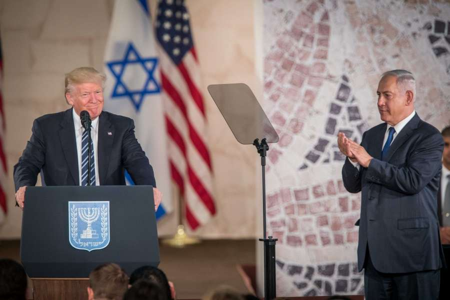 "JERUSALEM, May 23, 2017 (Xinhua) -- U.S. President Donald Trump (L) delivers a speech at the Israel Museum in Jerusalem on May 23, 2017. In the final remarks that concluded his first visit to the region, U.S. President Donald Trump said Tuesday that peace between Israel and the Palestinians is ""possible"". (Xinhua/JINI/IANS) by ."