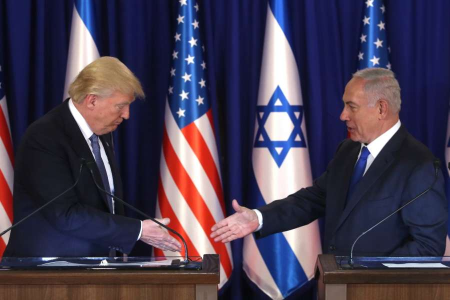 "JERUSALEM, May 22, 2017 (Xinhua) -- U.S. President Donald Trump (L) meets with Israeli Prime Minister Benjamin Netanyahu in Jerusalem, on May 22, 2017. Speaking on the first day of his visit to Israel and the West Bank, U.S. President Donald Trump urged Israeli Prime Minister Benjamin Netanyahu to start a ""new partnership"" with the Arab world. (Xinhua/JINI/POOL/Marc Israel Sellem/IANS) by ."