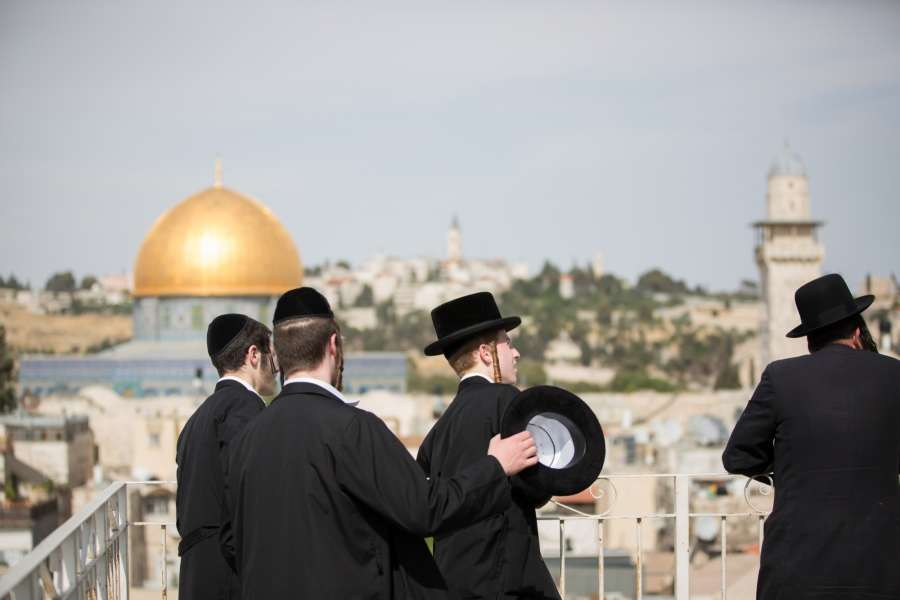 JERUSALEM, May 22, 2017 (Xinhua) -- Ultra-Orthodox Jews look towards the direction of the Western Wall during U.S. President Donald Trump's visit to the Western Wall in Jerusalem, May 22, 2017. (Xinhua/Guo Yu/IANS) (zjy) by .