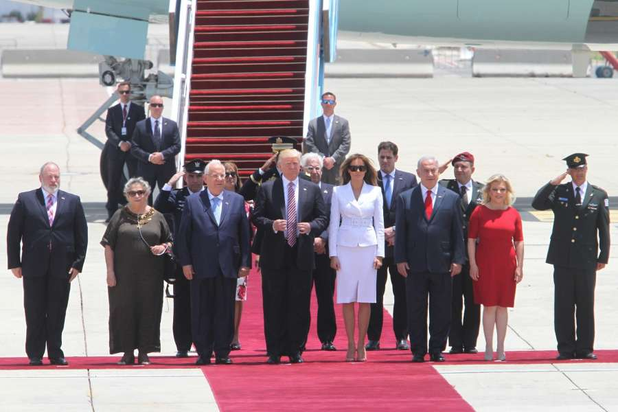 TEL AVIV, May 22, 2017 (Xinhua) -- U.S. President Donald Trump (front, 4th L) arrives at Ben Gurion International Airport in Tel Aviv, Israel, on May 22, 2017. Trump has arrived in Ben Gurion Airport in Tel Aviv, kicking off his second leg of the Middle East visit in Israel and Palestine. (Xinhua/Gil Cohen Magen/IANS) (dtf) by .