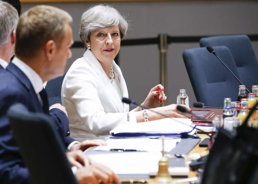 Brussels: British Prime Minister Theresa May (R) attends the second day of EU Summit in Brussels, Belgium, June 23, 2017.(Xinhua/Ye Pingfan/IANS) by .