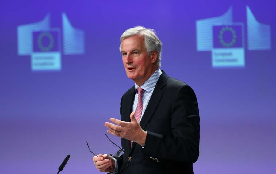 BRUSSELS, May 3, 2017 (Xinhua) -- EU's chief Brexit negotiator Michel Barnier speaks during a press conference at EU headquarters in Brussels, Belgium, May 3, 2017. (Xinhua/Gong Bing/IANS) by .