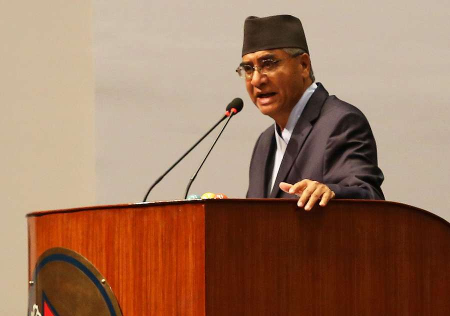 KATHMANDU, June 6, 2017 (Xinhua) -- President of the Nepali Congress Sher Bahadur Deuba addresses before the election at the parliament in Kathmandu, Nepal, June 6, 2017. Sher Bahadur Deuba was elected as the 40th prime minister of Nepal on Tuesday. (Xinhua/Sunil Sharma/IANS) (zf) by .