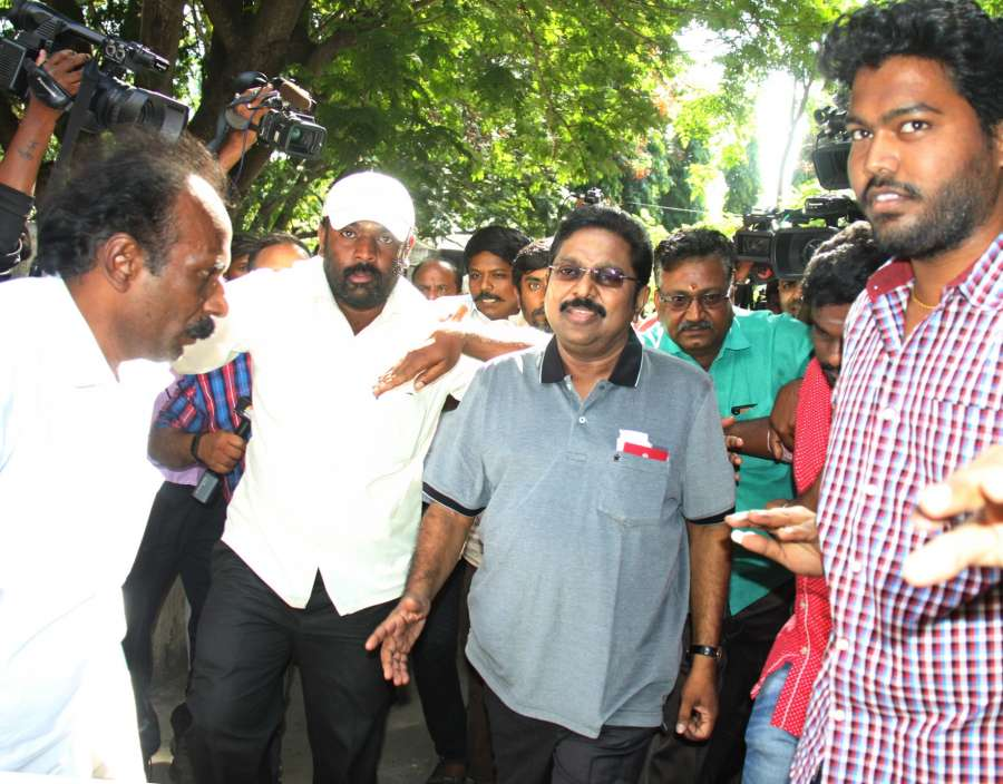 Bengaluru: AIADMK leader and party General Secretary V.K. Sasikala's nephew T.T.V. Dinakaran comes out after meeting Sasikala at a Bengaluru jail on June 5, 2017. (Photo: IANS) by .