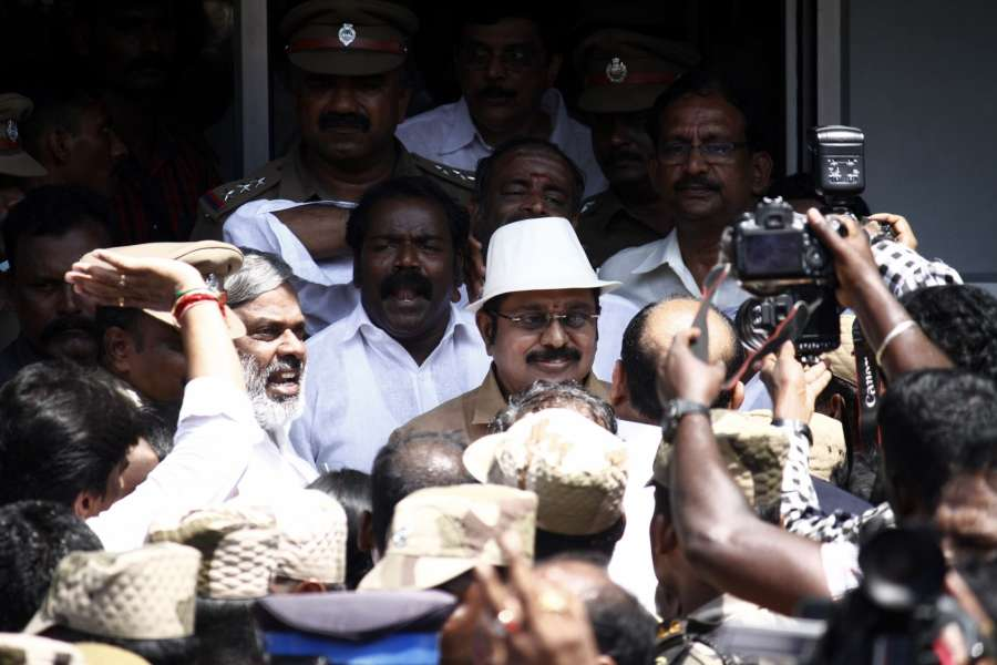 Chennai: AIADMK deputy general secretary TTV Dinakaran arrives to file nomination papers for by-election to the RK Nagar constituency in Chennai on March 23, 2017. (Photo: IANS) by .