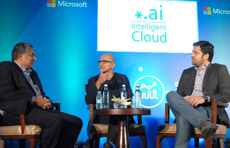 Bengaluru: Microsoft CEO Satya Nadella, Infosys co-founder and founder chairman of UIDAI Nandan Nilekani and Flipkart group CEO Binny Bansal during an event on startup stalwarts of India about digital information, intelligent Cloud in Bengaluru on Feb 20, 2017. (Photo: IANS) by .