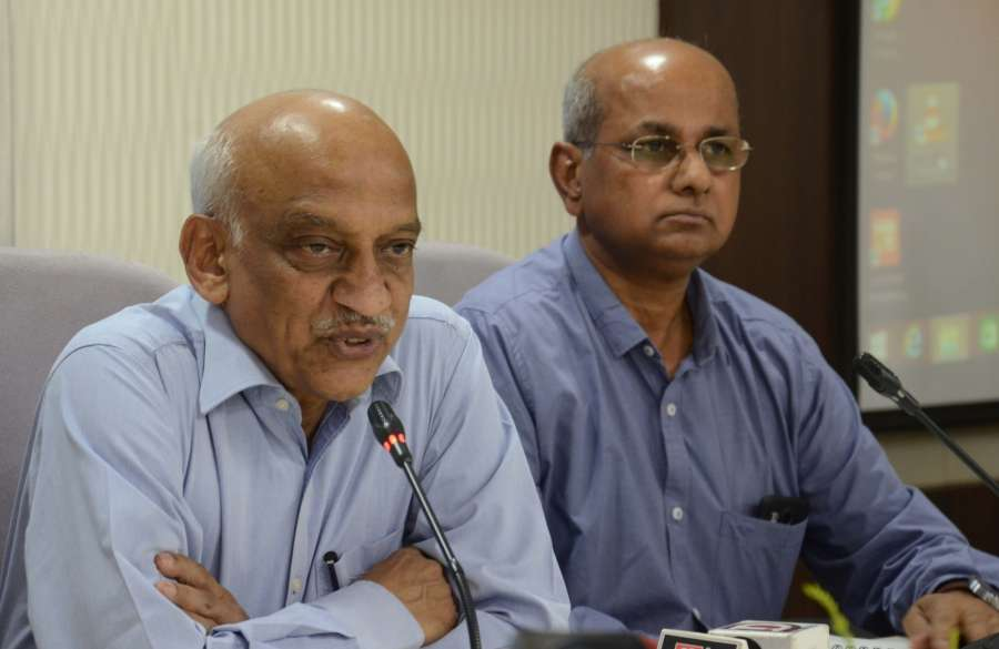 Bhopal: Indian Space Research Organisation (ISRO) Chairman AS Kiran Kumar (L) addresses a press conference in Bhopal on April 24, 2017. (Photo: IANS) by .