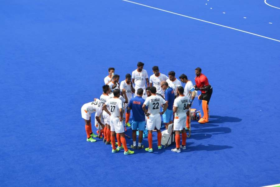Rio de Janeiro: Indian hockey coach Roelant Oltman interact with players during the Pool B match between India and Argentina at the 2016 Rio Olympic Games in Rio de Janeiro, Brazil on Aug 9, 2016. (Photo: IANS) by .