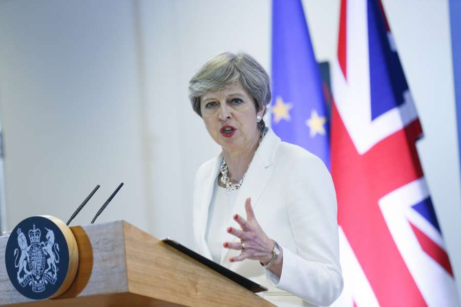 Brussels: British Prime Minister Theresa May attends a press conference at the end of a two-day EU Summit in Brussels, Belgium, June 23, 2017. (Xinhua/Ye Pingfan/IANS) by .