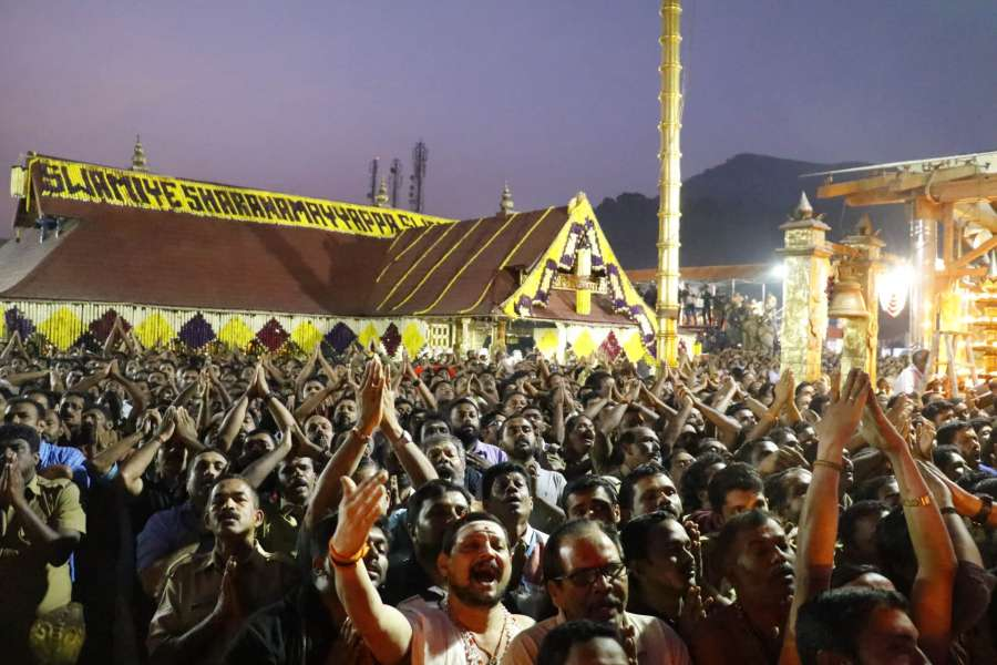 Sabarimala: Devotees of Lord Ayyappan witness the 'Makara Jyothi' at Sabarimala in Kerala, on Jan 14, 2017. (Photo: IANS) by .