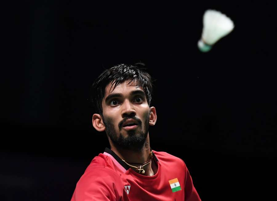 GOLD COAST, May 26, 2017 (Xinhua) -- Kidambi Srikanth of India competes during the men's singles match of Group 1 against Chen Long of China at TOTAL BWF Sudirman Cup 2017 in Gold Coast, Australia, May 26, 2017. Chen Long won 2-0. (Xinhua/Lui Siu Wai/IANS) by .
