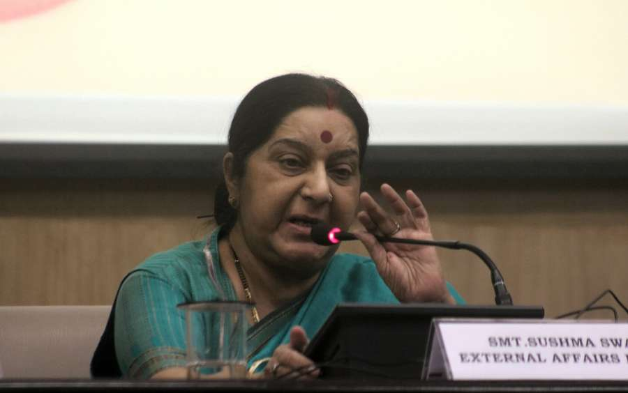 New Delhi: External Affairs Minister Sushma Swaraj addresses during a programme organised to launch integration of e-Sanad with CBSE's academic repository in New Delhi on May 24, 2017. 'e-Sanad' project is an initiative by the Ministry of External Affairs for online attestation of documents. (Photo: IANS) by .