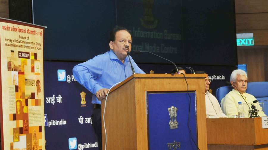 """New Delhi: Union Minister for Science and Technology, Earth Sciences and Environment, Forest and Climate Change, Dr. Harsh Vardhan addresses at the launch of the web-portal of """"VAJRA"""" (Visiting Advanced Joint Research) Faculty Scheme of Science & Engineering Research Board and the release of a commemorative stamp on the occasion of 250 years of Survey of India, in New Delhi on June 22, 2017. Also seen Minister of State for Communications (Independent Charge) and Railways Manoj Sinha. (Photo: IANS/PIB) by ."""