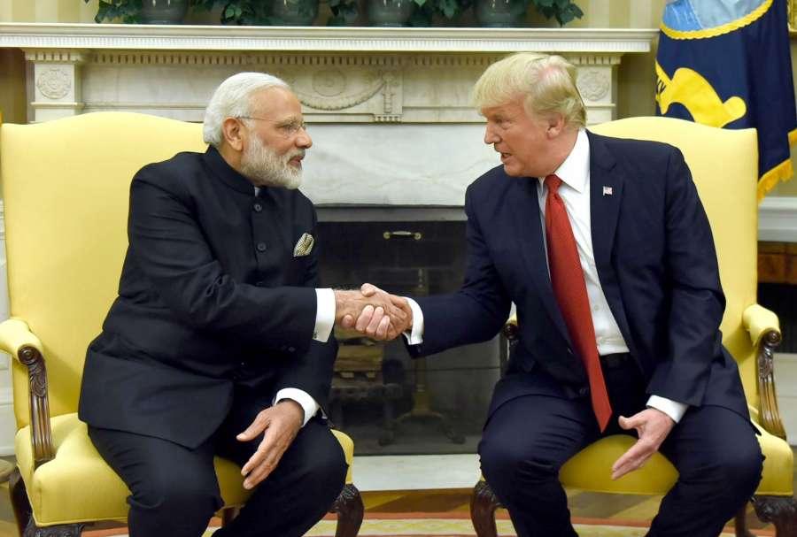 Washington DC: Prime Minister Narendra Modi meets President of United States of America (USA) Donald Trump, at White House, in Washington DC, USA on June 26, 2017. (Photo: IANS/PIB) by .