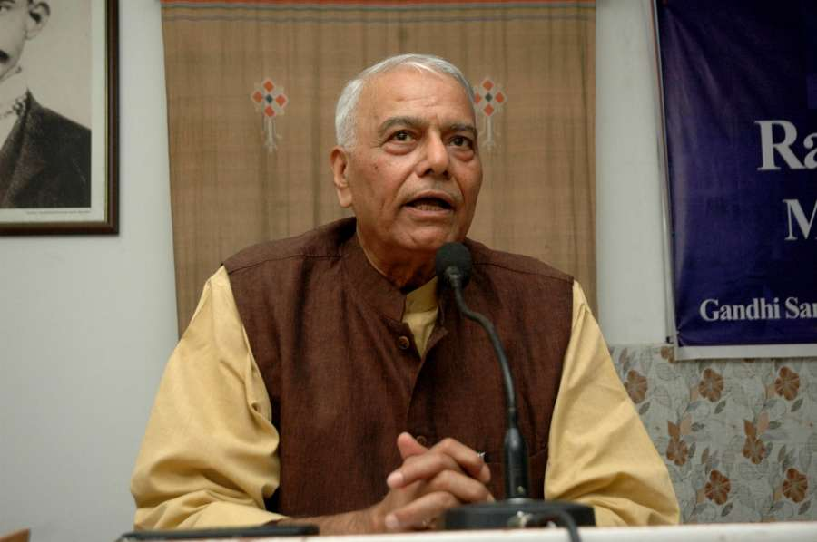 Patna: Bhartiya Janata Party leader Yashwant Sinha addresses during a programme in Patna on April 2, 2017. (Photo: IANS) by .