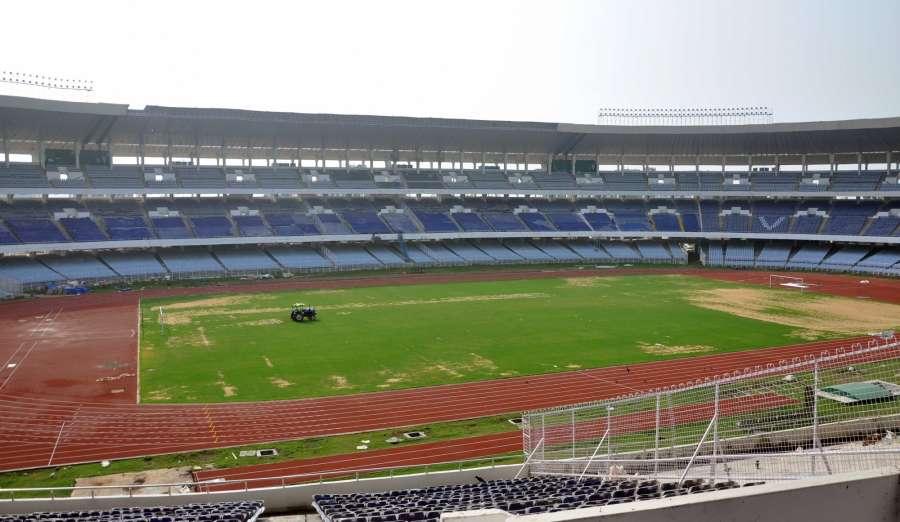 Kolkata: Preparations for FIFA U-17 World Cup underway at Salt Lake Stadium in Kolkata, on May 18, 2017. (Photo: Kuntal Chakrabarty/IANS) by .