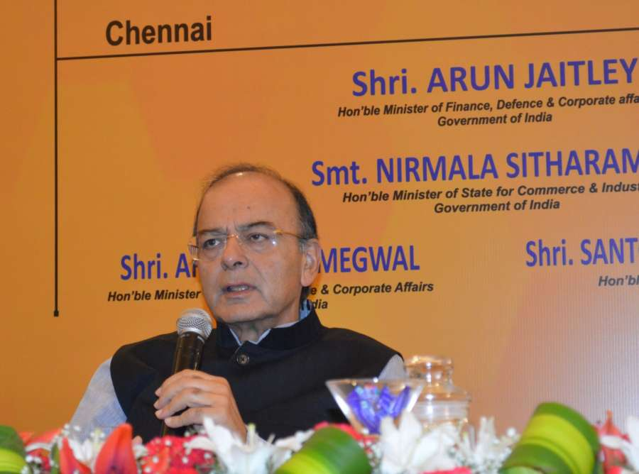 Chennai: Union Finance Minister Arun Jaitley addresses during a meeting with business leaders, in Chennai on July 30, 2017. (Photo: IANS/PIB) by .