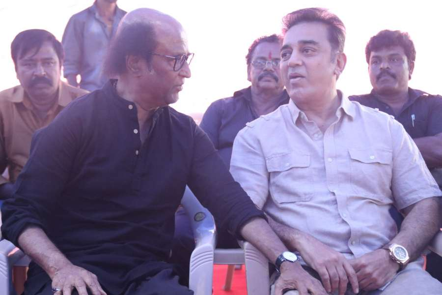 Chennai: Actors Kamal Haasan and Rajinikanth join demonstrators in favour of Jallikattu in Chennai on Jan 20, 2017. (Photo: Parthibhan/IANS) by .